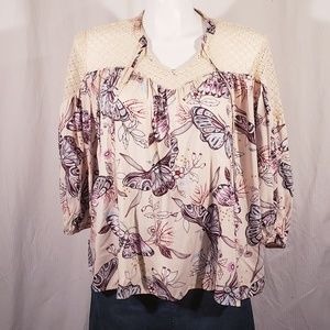 A.N.A Butterfly Print Peasant Top size xlarge